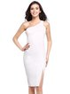 White Sexy One Shoulder Slit Sheath Dress