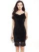 Crochet-trimmed Spaghetti Sheath Solid Velvet Dress