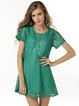 Crocheted Short Sleeve Cute Lace A-line Dress