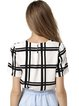 White Crew Neck Checkered Short Sleeve Blouse