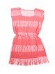 Pink Square Neck Solid Fringes Lace Cover Up