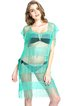 Green Sqaure Neck Lace Solid Fringes Cover Up