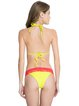 Yellow Color-block Triangle Halter Lace Bikini