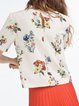 Apricot Floral-print Crew Neck Girly Blouse