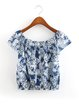 Blue Short Sleeve Printed Off Shoulder Top