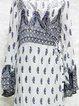 White Boho Printed Surplice Neck Wrap Dress