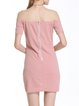 Pink Sexy Off Shoulder Solid Short Sleeve Zipper Dress
