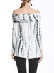 White Tie-Dye Off Shoulder Long Sleeve Tunic Top