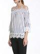 White Crochet-trimmed Stripes Off Shoulder Top