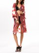 Red Tribal Boho Chiffon Kimono