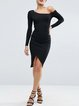 Black Slit Long Sleeve One Shoulder Dress
