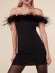 Black Off Shoulder Sexy Fluffy Dress