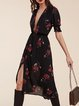 Black Boho Floral Plunging Neck Chiffon Dress