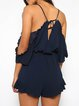 Dark Blue Embroidered Cold Shoulder Romper with Belt
