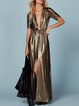 Golden Plunging Neck Sexy Slit Maxi Dress
