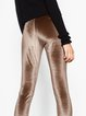 Coffee Polyester Solid Casual Leggings