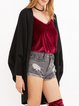 Black Casual Batwing Knitted Cardigan
