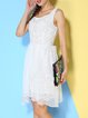 White Sleeveless Embroidered Lace Dress with Skirt Piece