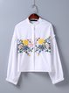 White Embroidered Floral Girly Crop Top