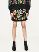 Black A-line Floral Embroidered Skirt