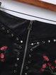 Black Zipper Rivet Embroidered PU Skirt