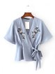 Blue Surplice Neck Embroidered Blouse