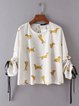 Beige Dogs Printed Crew Neck Cute Blouse