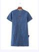 Blue Short Sleeve Bow Cute Denim Dress