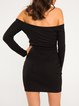 Black Long Sleeve Cutout Solid Halter Dress