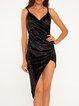 Black Velvet Spaghetti Draped Aymmetrical Dress