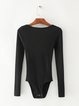 Knitted Scoop Neckline Long Sleeve Bodysuit