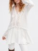 White Lace Trim Lace Up Solid Sexy V Neck Dress