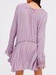 Lavender Lace Trim Flounce Solid Sexy Dress