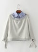 Gray Cold Shoulder Paneled Statement Sweatshirt