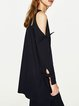 Cold Shoulder Solid Long Sleeve Bow Tunic Top