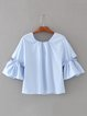 Blue Cute Bow Flared Sleeve Blouse