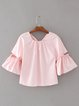 Pink Solid Bow Flared Sleeve Blouse