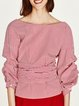 Red Asymmetric Stripes Gathered 3/4 Sleeve Blouse