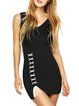 Black Sleeveless Lace Up V Neck Cotton-blend Dress