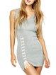Gray Lace Up Sleeveless V Neck Cotton-blend Dress