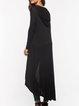 Black Hoodie Solid Long Sleeve Casual Coat
