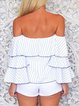 White Bell Sleeve Tiered Stripes Off Shoulder Top