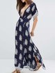 Navy Blue Plunging Neck Sexy Boho Printed Dress