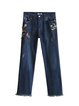 Blue Floral Embroidered Raw Hem Wide Leg Jeans