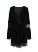 Green Surplice Neck Crochet-trimmed Velvet Dress