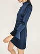 Dark Blue Open Back Solid Flared Sleeve Dress