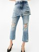 Blue Washed Ripped Street Denim Jeans
