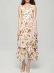 Apricot Asymmetrical Tiered V Neck Dress