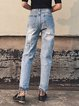 Blue Cutout Ripped Street Jeans