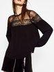 Black Long Sleeve Mesh Paneled Blouse